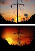 illustration with electric towers in forest at sunset