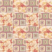 Patchwork Checkered Floral Fabric Texture Pattern Background