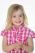 Sly Cute Girl On White Background