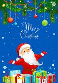 Santa Claus on greeting card with place for text.