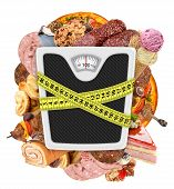 concept diet weight on a white background