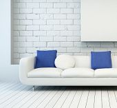 picture of settee  - 3D Rendering of White Couch with White and Blue Pillows at Architectural Living Room with White Wall and Flooring - JPG