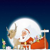 image of north-pole  - Illustration of Santa elf and reindeer in the North Pole - JPG