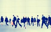 image of commutator  - Business People Rush Hour Walking Commuting City Concept - JPG