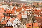 stock photo of red roof  - the red roofs of the old town and streets - JPG