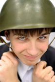 pic of conscript  - Cheerful Teenager in Military Helmet Portrait closeup - JPG