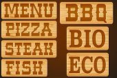 image of nameplates  - Nameplate of wood with words Menu Grill Steak Pizza and BBQ - JPG