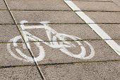 picture of bike path  - Bike path with a symbol of bike - JPG