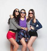 picture of swag  - Three stylish sexy hipster girls best friends - JPG