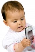 Baby Girl With A Mobile Phone