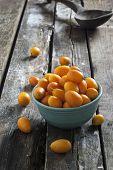 pic of kumquat  - freshly picked kumquats on a rustic table - JPG