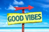 pic of universal sign  - Good Vibes sign with beach background - JPG