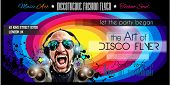 stock photo of clubbing  - Disco Night Club Flyer layout with DJ shape and music themed elements to use for Event Poster - JPG