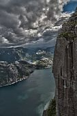 Hdr Of Preikestolen In Norway With Fjord View