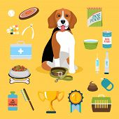 stock photo of tong  - Set of dog life icons - JPG