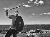 picture of viking  - Medieval viking warrior wearing chainmail he has the sword and the shield north nature on background black and white image - JPG