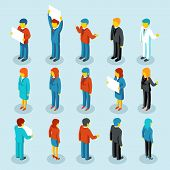 pic of isometric  - Business people isometric 3d vector figures - JPG