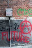 image of anarchists  - Red Spray Paint Anti - JPG