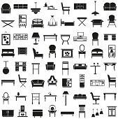 picture of banquette  - black icons on the theme of the furniture on a white background - JPG