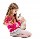 picture of rabbit year  - little girl in a crimson sweater  with baby rabbit over white background - JPG