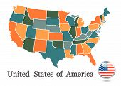 foto of usa map  - USA map vector illustration on white background - JPG