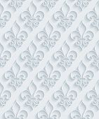 pic of fleur de lis  - White paper with outline extrude effect - JPG