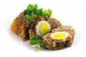 pic of meatloaf  - meatloaf with boiled eggs inside for Easter isolated on white background - JPG