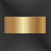 stock photo of plaque  - golden plaque on black textured background   - JPG