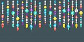 foto of gem  - Vector banner decorative garland from gems crystals and deamonds gems on a string - JPG