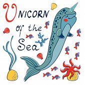 stock photo of unicorn  - Narwhal the unicorn of the sea - JPG