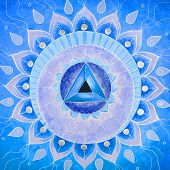 picture of chakra  - abstract blue painted picture with circle pattern - JPG
