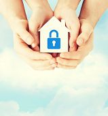 stock photo of lock  - real estate and family home security concept  - JPG