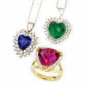 stock photo of diamond ring  - Combination of Three Jewellery Pieces - JPG