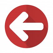 stock photo of arrow  - left arrow red flat icon arrow sign