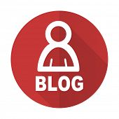picture of blog icon  - blog red flat icon 