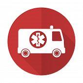 stock photo of ambulance  - ambulance red flat icon  - JPG
