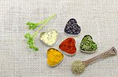 image of oregano  - Various spices in heart chaped containers on a tablecloth decorated with a spoon of oregano - JPG