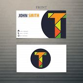 foto of letter t  - Trendy business card template - JPG