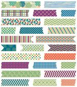 pic of strip  - Vector Collection of Cute Patterned Washi Tape Strips in Masculine Colors - JPG