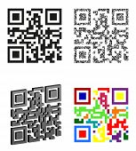 stock photo of qr-code  - set icons abstract qr code vector illustration isolated on white background - JPG
