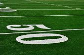 Fifty Yard Line On American Football Field