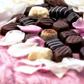 pic of truffle  - Chocolate truffles with white and pink rose petals - JPG