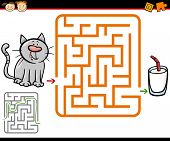 stock photo of brain-teaser  - Cartoon Illustration of Education Maze or Labyrinth Game for Preschool Children with Cute Cat and Glass of Milk - JPG