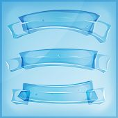 pic of ice crystal  - Illustration of a set of cartoon transparent glass crystal or ice award ribbon and banners on blue sky background - JPG