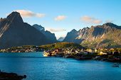 pic of fjord  - Scenic town of Reine by the fjord on Lofoten islands in Norway on sunny summer day - JPG