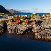 image of fjord  - Scenic town of Reine by the fjord on Lofoten islands in Norway on sunny summer day - JPG