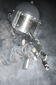 picture of anti-terrorism  - Russian special forces operator in black uniform and bulletproof helmet - JPG