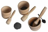 stock photo of pestle  - wooden mortar and pestle in several versions - JPG