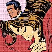 picture of lovers  - Dream woman man love romance lovers pop art comics retro style Halftone - JPG