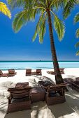 picture of boracay  - Beach chairs on a beautiful island Philippines Boracay  - JPG